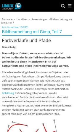 Vorschau der mobilen Webseite www.linux-community.de, Farbverläufe und Pfade