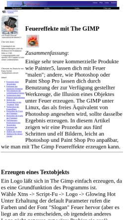 Vorschau der mobilen Webseite www.linuxfocus.org, Feuereffekte