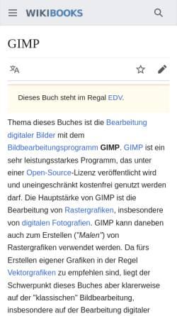 Vorschau der mobilen Webseite de.wikibooks.org, GIMP - Wikibook