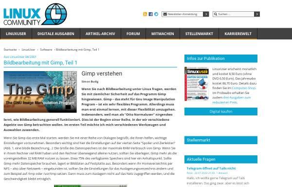 Vorschau von www.linux-community.de, Gimp verstehen