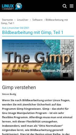 Vorschau der mobilen Webseite www.linux-community.de, Gimp verstehen