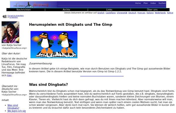 Vorschau von www.linuxfocus.org, Herumspielen mit Dingbats