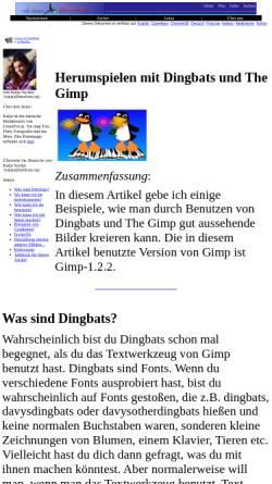 Vorschau der mobilen Webseite www.linuxfocus.org, Herumspielen mit Dingbats