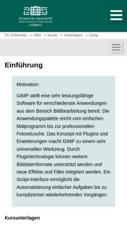 Vorschau der mobilen Webseite www.tu-chemnitz.de, Kurzeinführung in Gimp