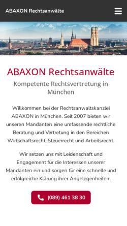 Vorschau der mobilen Webseite www.abaxon.de, Abaxon Rechtsanwälte, Liebigstr.