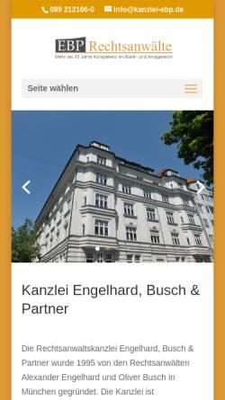 Vorschau der mobilen Webseite www.kanzlei-ebp.de, Engelhard, Buch & Partner, Widenmayerstr.