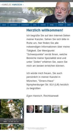 Vorschau der mobilen Webseite www.kanzlei-hanisch.com, Hanisch, Egon, Nördliche Auffahrtsallee