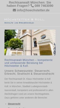 Vorschau der mobilen Webseite www.hoechstetter.de, Höchstetter & Kollegen, Bavariaring