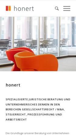 Vorschau der mobilen Webseite honert.de, Honert + Partner, Theatinerstr.