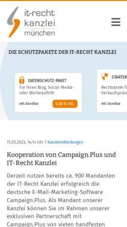 Vorschau der mobilen Webseite www.it-recht-kanzlei.de, IT-Recht Kanzlei, Alter Messeplatz