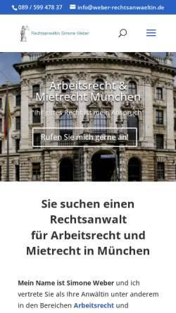 Vorschau der mobilen Webseite www.weber-rechtsanwaeltin.de, Weber, Simone und Meuschel, Walther, Sendlingertorplatz