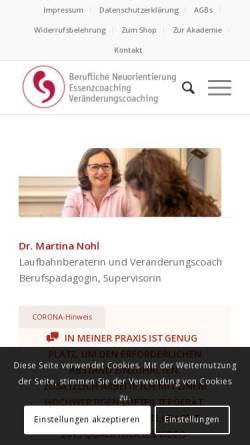 Vorschau der mobilen Webseite www.meinberufsweg.de, Martina Nohl