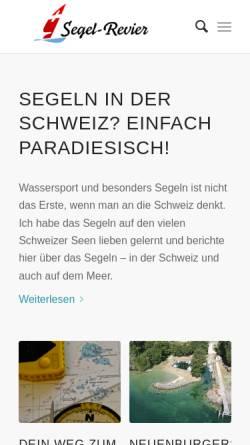 Vorschau der mobilen Webseite www.segelrevier.ch, Segeln in der Schweiz und Überhaupt
