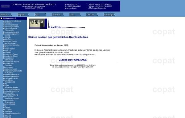 Vorschau von www.copat.de, Lexikon des gewerblichen Rechtsschutzes