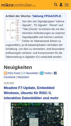 Vorschau der mobilen Webseite www.mikrocontroller.net, Mikrocontroller.net
