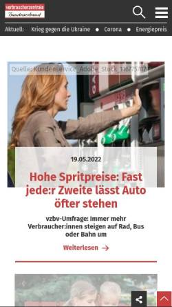 Vorschau der mobilen Webseite www.vzbv.de, Verbraucherzentrale Bundesverband e.V. (vzbv)
