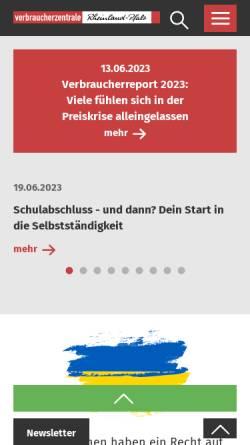 Vorschau der mobilen Webseite www.verbraucherzentrale-rlp.de, Verbraucherzentrale Rheinland-Pfalz e.V.