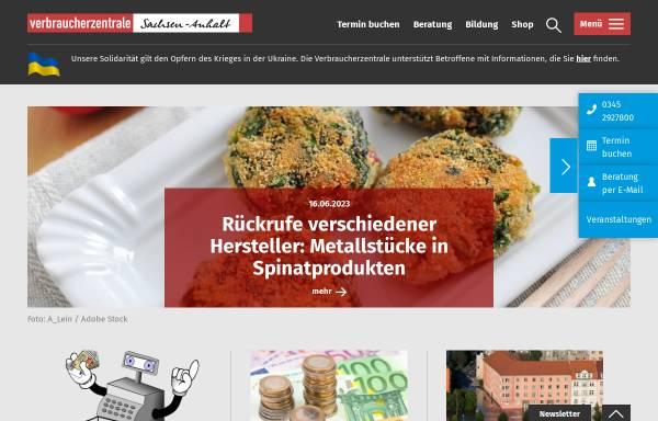 Vorschau von www.vzsa.de, Verbraucherzentrale Sachsen-Anhalt e.V.