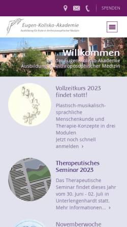 Vorschau der mobilen Webseite www.kolisko-akademie.de, Eugen-Kolisko-Akademie
