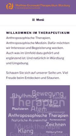 Vorschau der mobilen Webseite www.therapeutikum-wuerzburg.de, Matthias-Grünewald-Therapeutikum