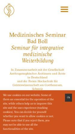 Vorschau der mobilen Webseite www.medseminar-bad-boll.de, Medizinisches Seminar Bad Boll