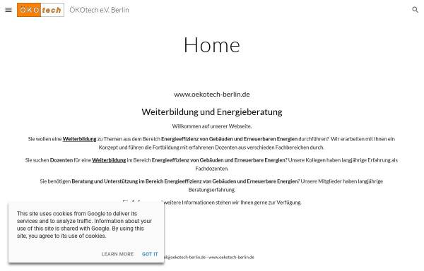 Vorschau von www.oekotech-berlin.de, Ökotech e.V.