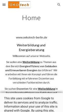 Vorschau der mobilen Webseite www.oekotech-berlin.de, Ökotech e.V.