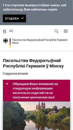 Vorschau der mobilen Webseite www.minsk.diplo.de, Belarus (Weißrußland), deutsche Botschaft Minsk