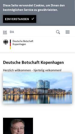 Vorschau der mobilen Webseite www.kopenhagen.diplo.de, Dänemark, deutsche Botschaft Kopenhagen