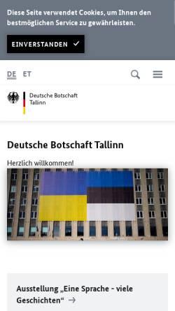Vorschau der mobilen Webseite www.tallinn.diplo.de, Estland, deutsche Botschaft in Tallinin