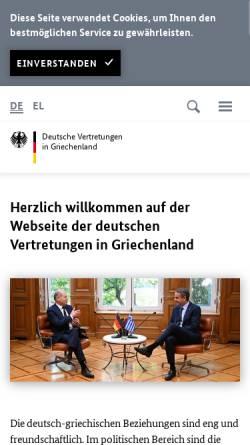Vorschau der mobilen Webseite www.griechenland.diplo.de, Griechenland, deutsche Botschaft in Athen