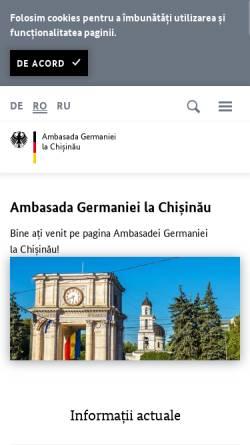 Vorschau der mobilen Webseite www.chisinau.diplo.de, Moldau, deutsch Botschaft in Chisinau
