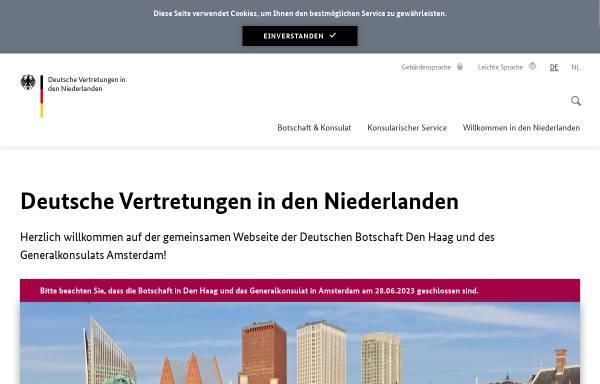 Vorschau von www.den-haag.diplo.de, Niederlande, deutsche Botschaft in Den Haag und das deutsche Generalkonsulat in Amsterdam