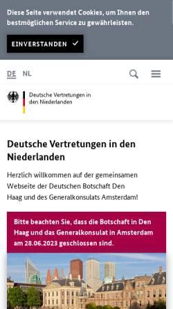 Vorschau der mobilen Webseite www.den-haag.diplo.de, Niederlande, deutsche Botschaft in Den Haag und das deutsche Generalkonsulat in Amsterdam