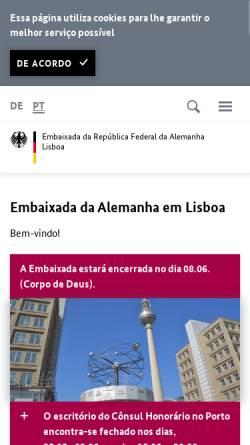 Vorschau der mobilen Webseite www.lissabon.diplo.de, Portugal, deutsche Botschaft Lissabon