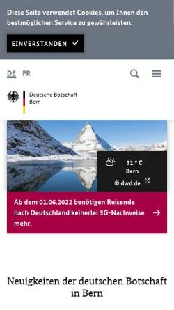 Vorschau der mobilen Webseite www.bern.diplo.de, Schweiz, deutsche Botschaft in Bern