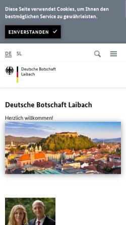 Vorschau der mobilen Webseite www.laibach.diplo.de, Slowenien, deutsche Botschaft in Laibach