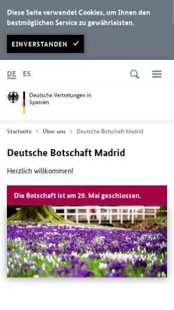Vorschau der mobilen Webseite www.madrid.diplo.de, Spanien, deutsche Botschaft in Madrid