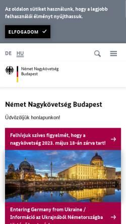 Vorschau der mobilen Webseite www.budapest.diplo.de, Ungarn, deutsche Botschaft in Budapest