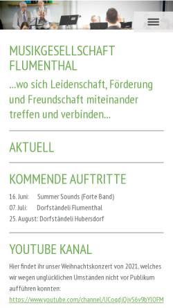 Vorschau der mobilen Webseite www.mgflumenthal.ch, MGF Musikgesellschaft Flumenthal