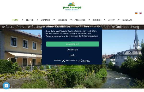 Vorschau von www.lindenhof-prien.de, Hotel Pension Chiemsee