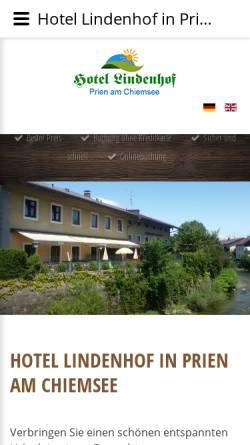 Vorschau der mobilen Webseite www.lindenhof-prien.de, Hotel Pension Chiemsee