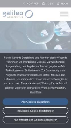 Vorschau der mobilen Webseite www.galileo-webagentur.de, Galileo Webdesign