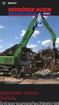Vorschau der mobilen Webseite www.gebrueder-aurin.de, Gebrüder Aurin GmbH
