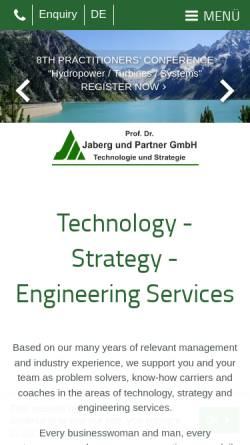 Vorschau der mobilen Webseite www.jabergundpartner.com, Verbundene Unternehmensberatungen Prof. Dr.-Ing. Jaberg & Partner