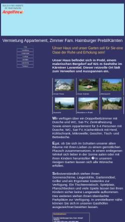 Vorschau der mobilen Webseite www.angelfire.com, Haimburger Appartements und Zimmer, Prebl