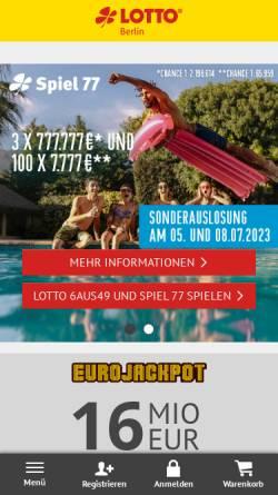 Vorschau der mobilen Webseite www.lotto-berlin.de, Deutsche Klassenlotterie Berlin (DKLB)