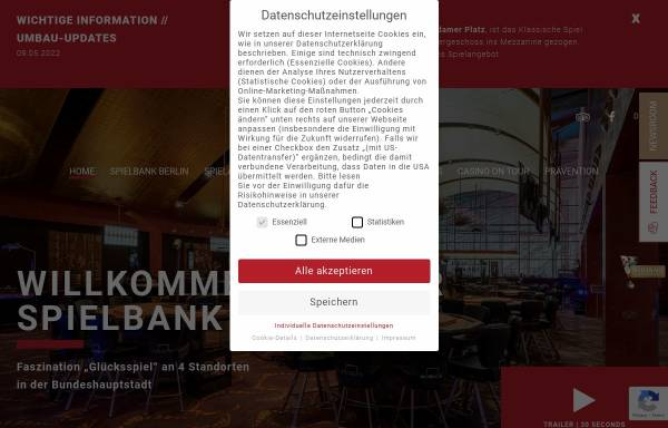 Vorschau von www.spielbank-berlin.de, Spielbank Berlin - Gustav Jaenecke GmbH & Co.