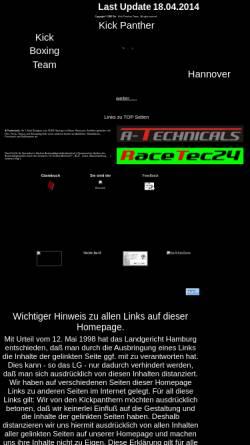 Vorschau der mobilen Webseite www.kickpanther.de, Kick Panther Kick Boxing Team Hannover
