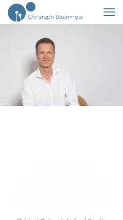 Vorschau der mobilen Webseite www.christoph-steinmetz.de, Christoph Steinmetz - Praxis für Psychotherapie und Musiktherapie